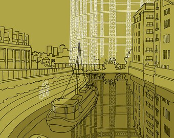 Yellow Green Gas, Regent's Canal - Signed Limited Edition Art Print