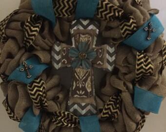 Burlap cross wreath