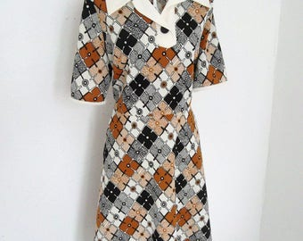 Vintage 60s 70s Retro Mod Mad Men shift Tea Dress Size M Brown Black cream