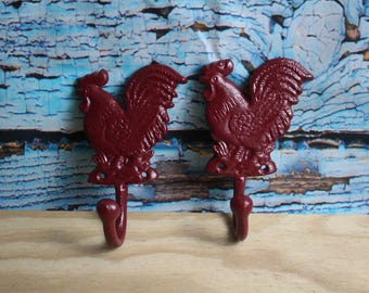 Burgundy (Red) Chicken / Rooster Cast Iron Hook (Lot of 2)