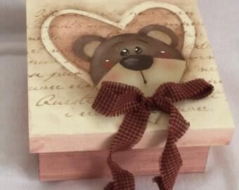 Box quadratto bear heart