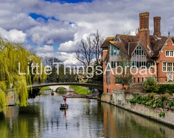 Spring Cambridge printable photo, canal, boat, green, sky, travel photography, digital file download, scenic, printable art