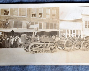 World War I track equipment parade postcard
