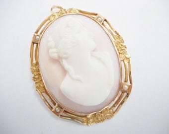 Cameo Brooch, Cameo Pendant, Brooch Pendant, Vintage Cameo, Gold Cameo, 10k Yellow Gold Oval Cameo Brooch Pendant #1476