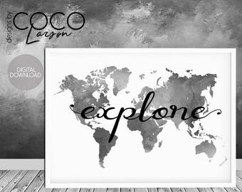 Explore print, explore wall art, large world map, black watercolour, travel poster, explore quote, travel printable, black map print