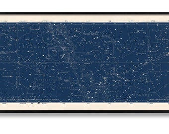 Constellation and Star Chart Map - Large Horizontal