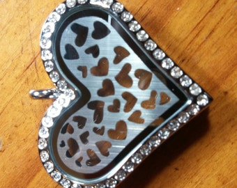 Heart Shaped Stainless Steel Memory Locket with Crystals and Heart Shaped Stainless Steel Backplate Silver Colored