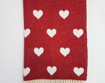 Bela Baby Red Love Hearts Merino Lambs Wool Baby Throw/ Blanket and Filled Cushion