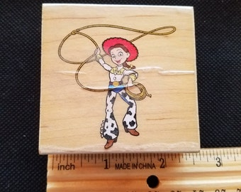 NEW Never Used Cowgirl Roper Rubber Stamp Mounted on Wood