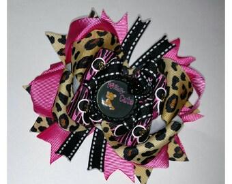 Cheetah Print Hair Bow, Pink Cheetah Hair Bow, Boutique Cheetah Bow, Cheetah Bow