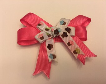 Double Pink and Cupcake Hair Bow