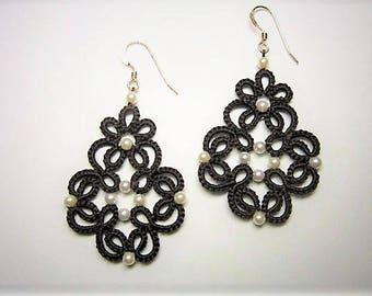 Brown Lace Earrings, Brown Earrings, Earth Tones, Tatted Earrings, Tatted Lace Jewelry, Beaded Lace, Lace Earrings, Lace Jewelry
