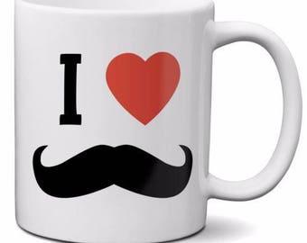 Mugvana I Love (Heart) Mustaches Funny Quote Novelty Gift 11oz Coffee Mug