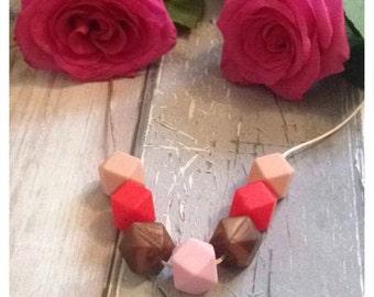 Teething Necklace- 'Valentine' Design