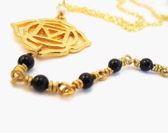 Root Chakra Necklace, Muladhara, Black Onyx gemstone jewelry, yoga charms, gold and black, healing crystals and stones, spiritual necklaces