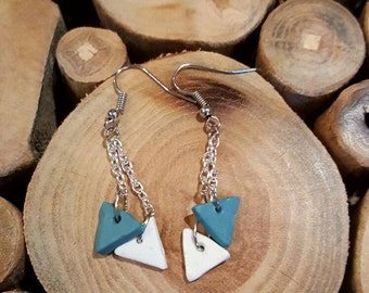 Blue and white triangle polymer clay dangle earrings with chains on nicklefree fish hook, gifts for her, birthday jewelry