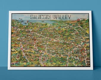 Silicon Valley Advert | Reproduction Print of Retro Computing Pictorial Map, Illustrative Map of California, Apple Computer, IBM, Pirates of