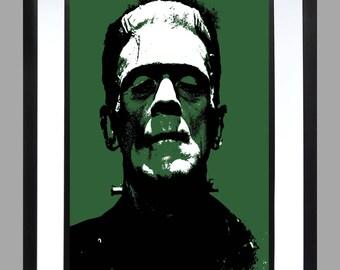 Frankenstein . A3 Print . Art . Poster Horror Films Hammer House . Boris karloff