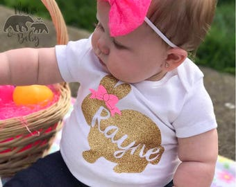 Baby Girl's Personalized Name Easter Bunny Shirt, Bodysuit, Toddler Easter Outfit, Easter Outfit, My First Easter, Newborn Easter Onesie