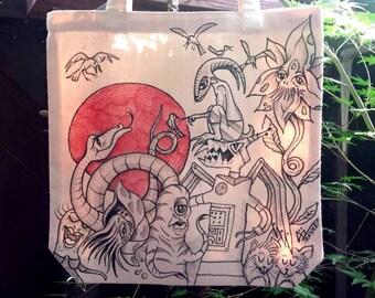Handmade Illustrated Monster Tote Bag