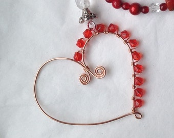 Medium red heart Suncatcher