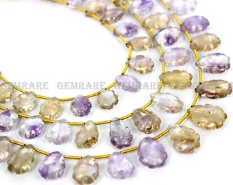 Ametrine Briolettes, Carved Leaf Faceted Beads, Quality A, 9x12 to 10.50x15 mm, 18 cm, 17 pieces, AMETRI-010/1, Semiprecious Gemstone Beads