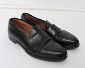 Vintage Black Leather Loafers/ Leather Black Shoes/ Size 44/ Milano