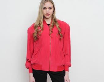 Vintage Red Silk Bomber Jacket/ Size S