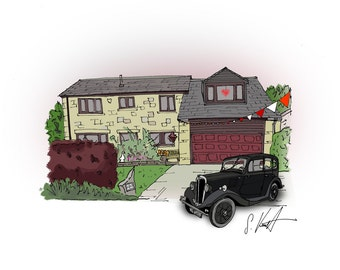 House with Car: Hand Drawn Homes