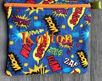 Reusable sandwich bag, Superhero, Zippered Sandwich Bag, Snack Bag, Monogrammed, Lunch, Large wet bag, washable bag
