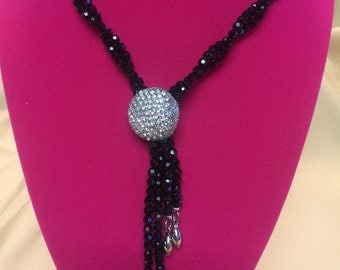 Black Faced Beaded 2 String Necklace