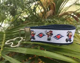 Disney Cruise Key Fob/Wristlet. Minnie Mouse, mickey mouse, DCL, ID holder.