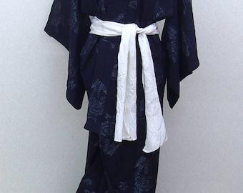 Blue  used kimono robe / Japanese traditional  vintage  kimono robe