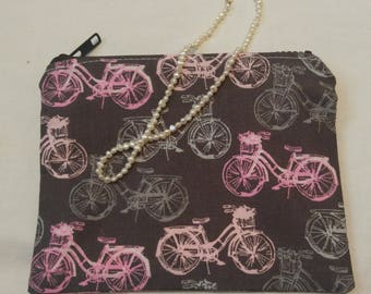 Small Pink & Gray Zipper Pouch with Bicycle Motif; cosmetic bag; zipper clutch; makeup bag; gadget case; gift for her; girls pouch