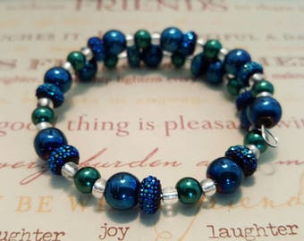 Blue and green wire bracelet