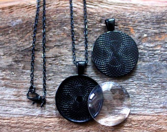 """10 PENDANT Making SETS Blank 1 inch Round Pendant Trays, Glass Domes, 18"""" Chain - 1 inch BLACK, Photos Charms"""