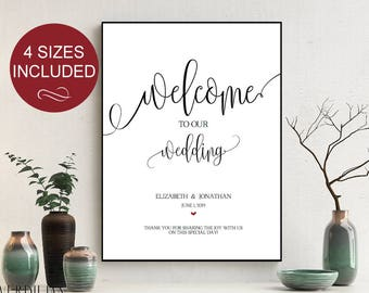 Wedding Welcome Sign Wedding Reception Greet Guests Elegant Printable Welcome to Our Wedding Poster Board DIY Template| VRD139SBA