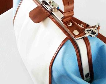 leather doctorsbag, leather doctor's bag, ladies handbag, short handle, shoulder bag, white and sky blue