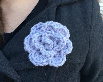 Lavender Crocheted Rose Pin