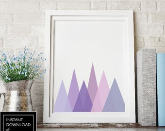 Printable Wall Art, Abstract Purple Triangles, Monogram, Print, Instant Download, Poster, Minimalist, Digital, Gift Idea, Present, Mountains