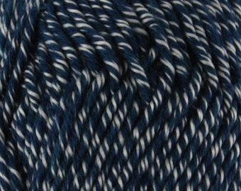 Chunky Melody Deep Blue White Midnight Heather Wool Blend Yarn Bulky 100g/skein