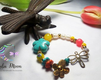 Dragonfly beaded bracelet, girls bracelet, women bracelet, multicolor bracelet, flower bracelet