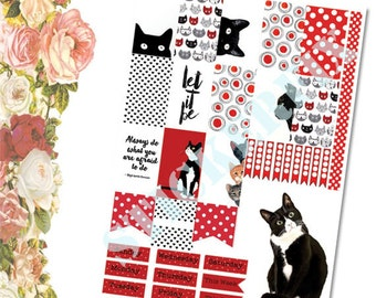 Cats with red sheet two. A4 printable sticker sheet suitable for HP, scrapbooking, journaling or card making.
