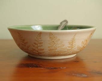 Handmade Stoneware Bowl with Ferns-Handmade Pottery by Alia Levi