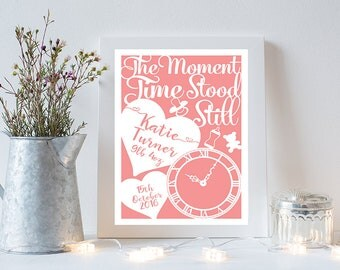The moment time stood still print, Baby gift, Newborn, Christening gift, Personalised print, Birth announcement