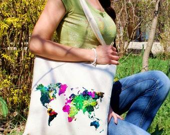 World map tote bag -  Map shoulder bag - Fashion canvas bag - Colorful printed market bag - Gift Idea