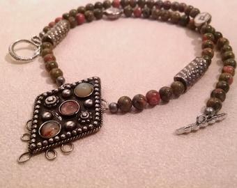 Unakite necklace with vintage centerpiece