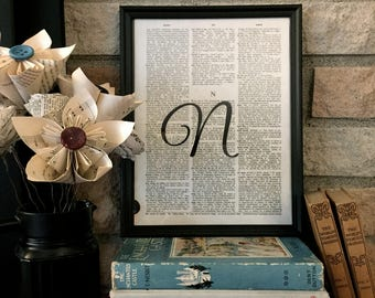 """Dictionary Page Wall Art - Framed Art - Frame Included - Initial - Monogram - """"N"""" - only ONE available"""