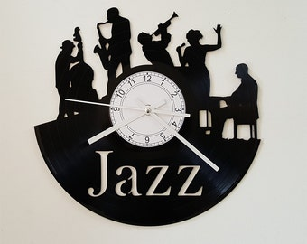 Jazz clock, Wall clock, vinyl record clock, vinyl clock