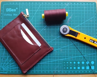 Minimalist Leather wallet, Brown leather cardholder, leather coins purse